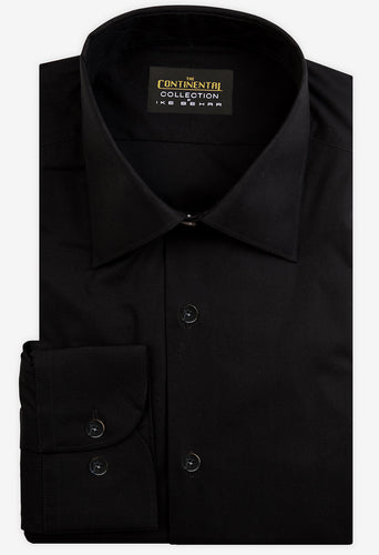 Continental Black  Broadcloth Dress Shirt