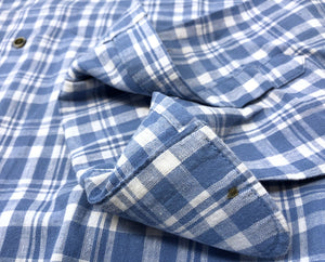 Sky Plaid Linen Sport Shirt