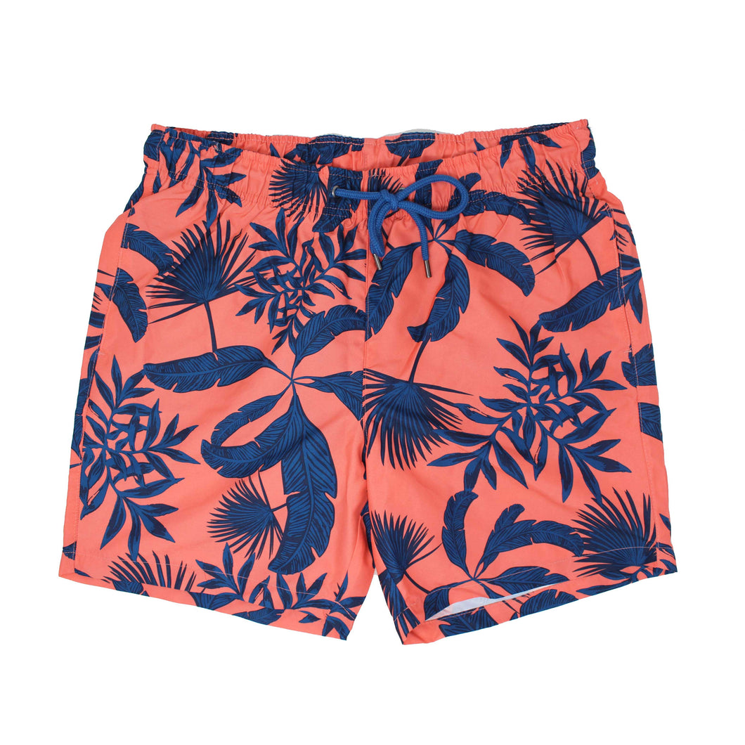 Rose Graphic Leaf Print Swim Shorts