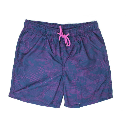 Violet Camo-Dot Print Swim Shorts
