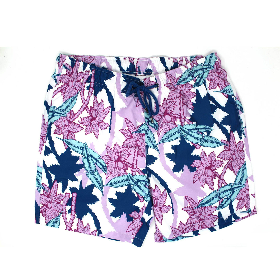 White and Pink Tidal Print Swim Shorts