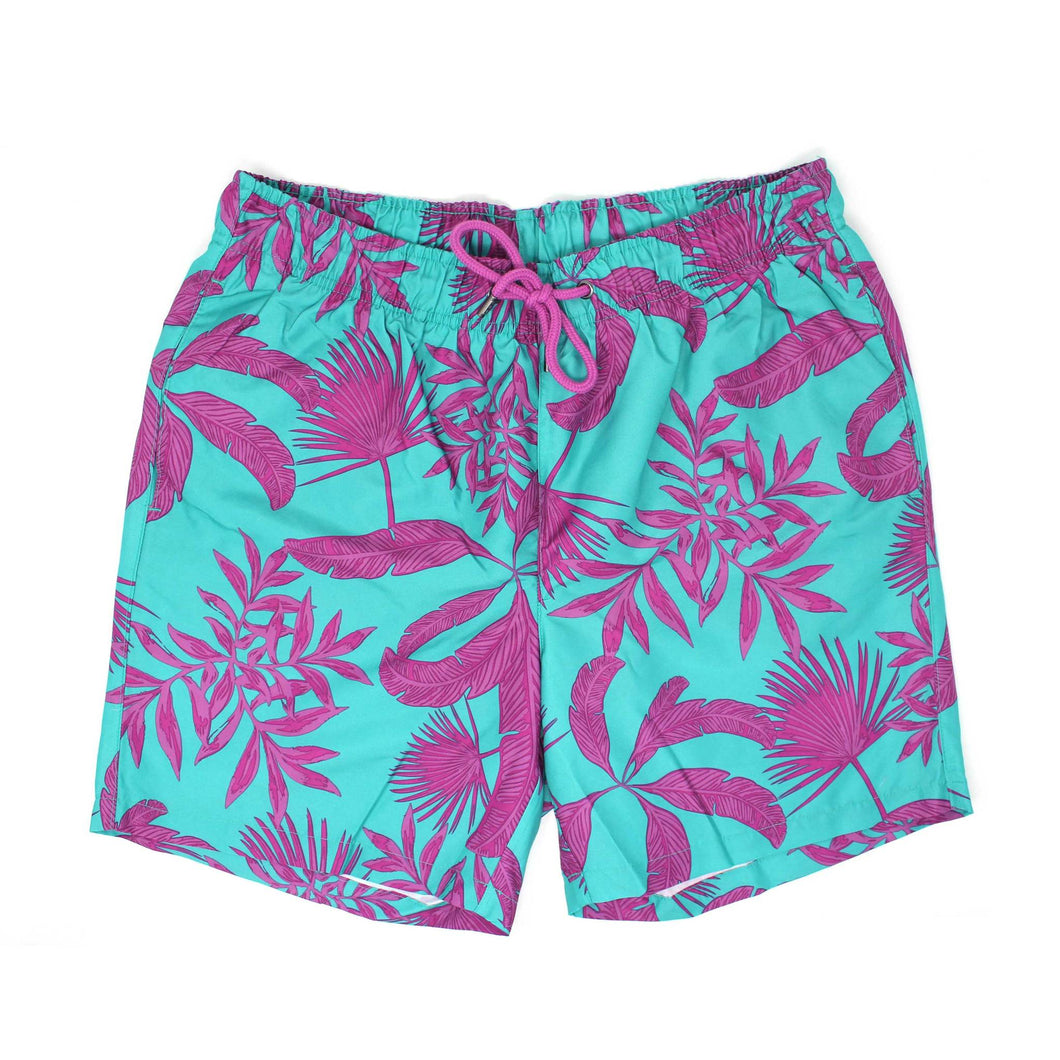 Green Graphic Leaf Print Swim Shorts