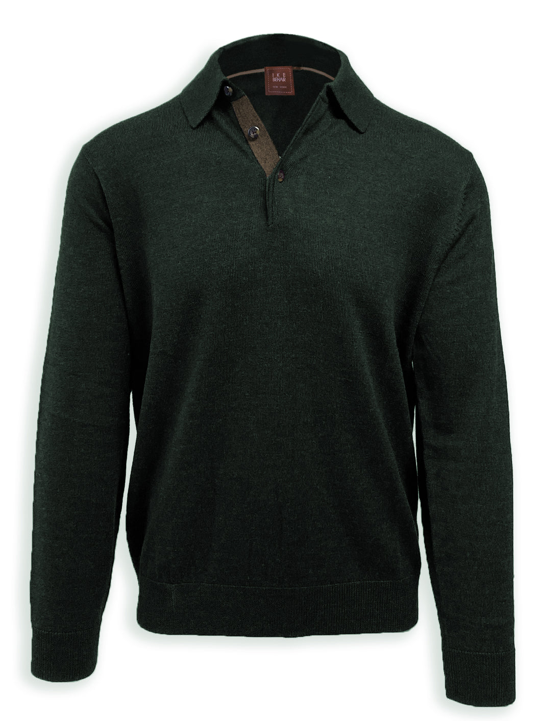 Forest Merino Wool Polo Sweater