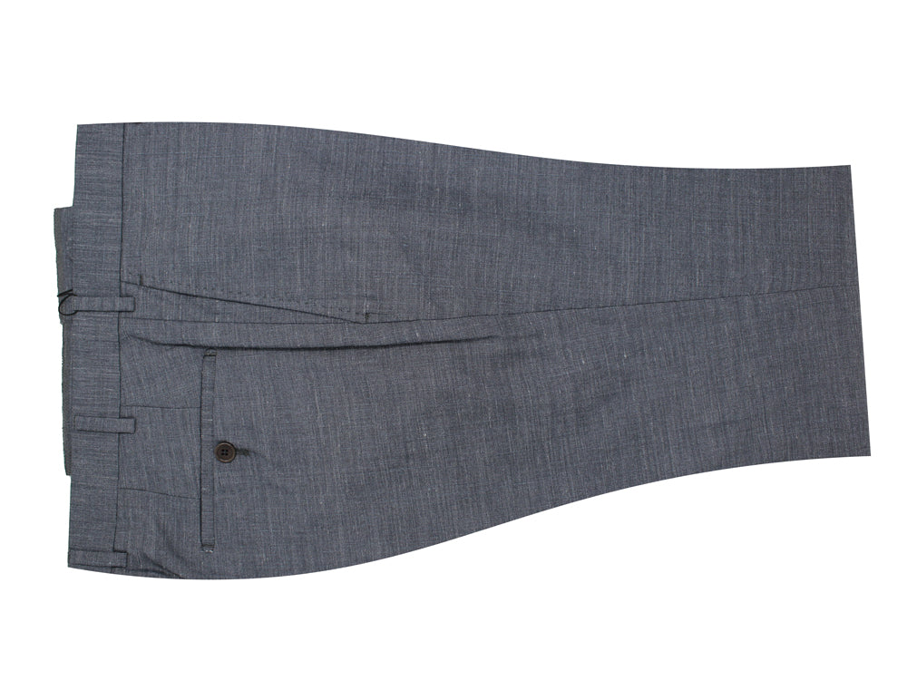 Grey Flat Front Textured Weave Dress Pants