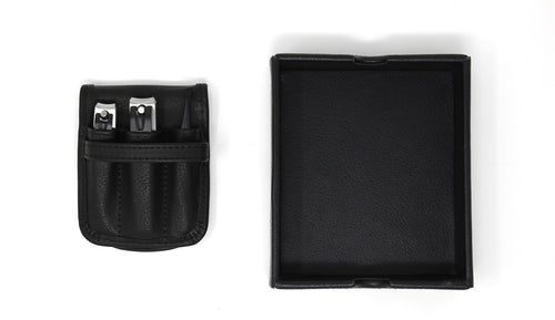 Travel Leather Grooming Set with Valet