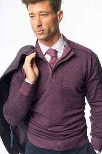 Purple Merino Wool 1/4 Zip Sweater