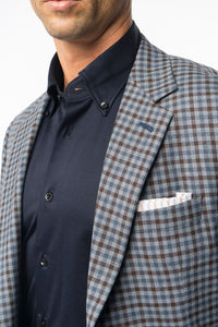 Blue and Brown Check Sport Coat
