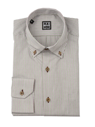 Merlot/Olive Mini-Check Sport Shirt
