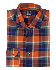 Orange Plaid Sport Shirt
