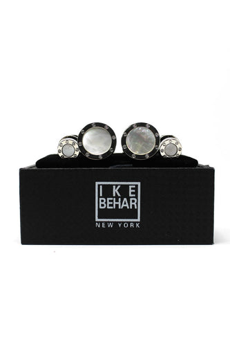 Silver and Pearl Cufflink and Stud Set