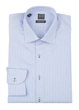 Blue and White Striped Dress Shirt