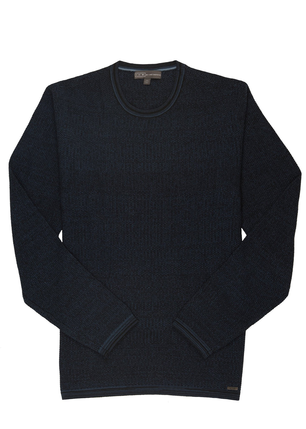 Stormy Blue Ike by Ike Behar Cotton Seed Stitched Sweater