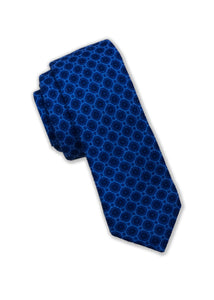 Wool Navy Geometric Print Tie