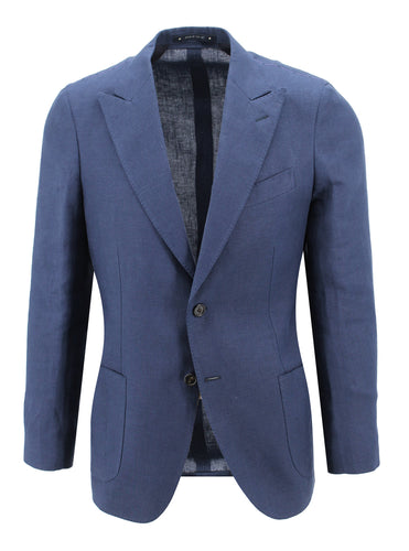 Navy Linen Peak Lapel Sport Coat