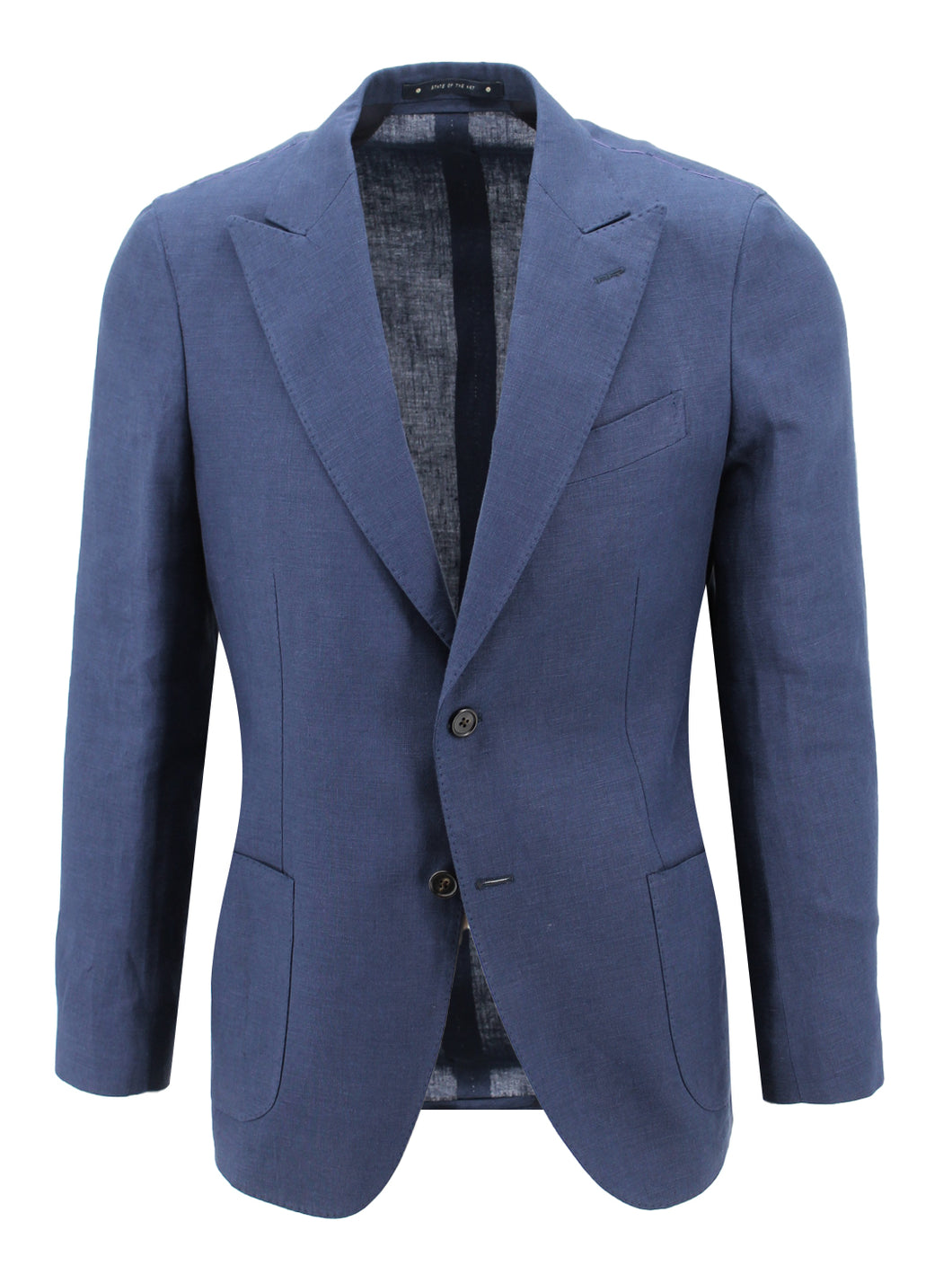 Navy Linen Peak Lapel Suit