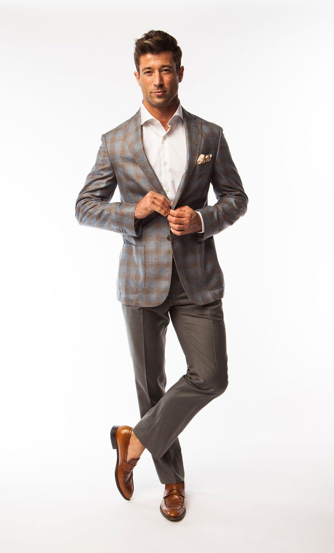 Brown and Grey Check Sport Coat