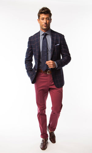 Navy with Red Window Pane Sport Coat
