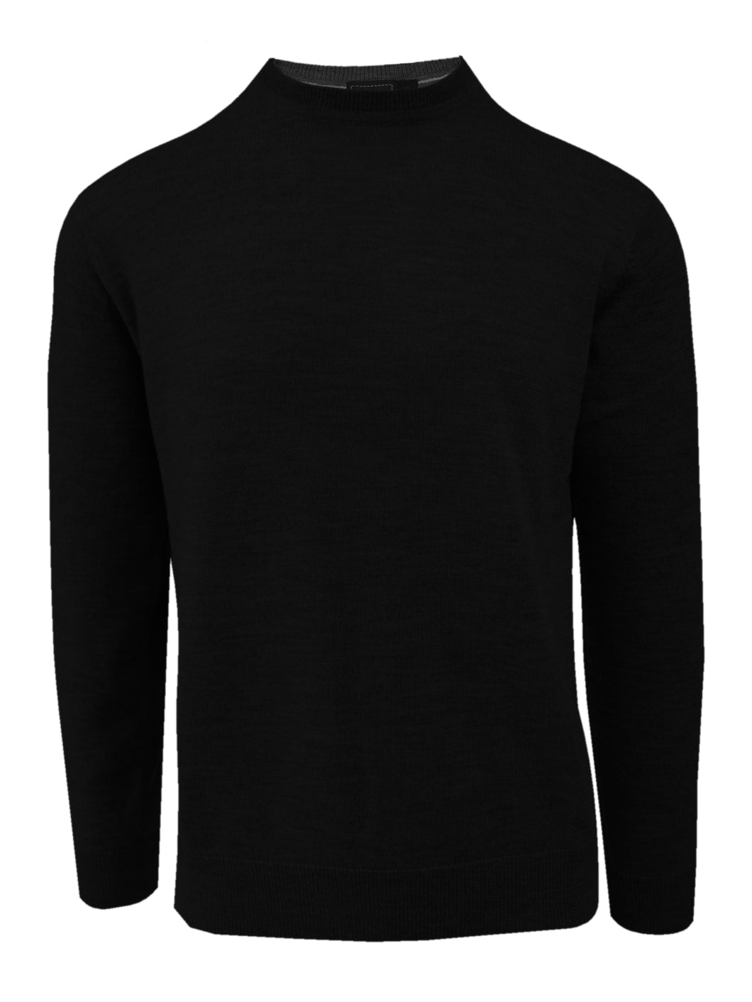 Black Merino Wool Crew Neck Sweater