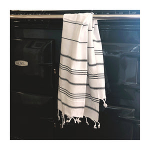 turkish hand towel white and black stripe