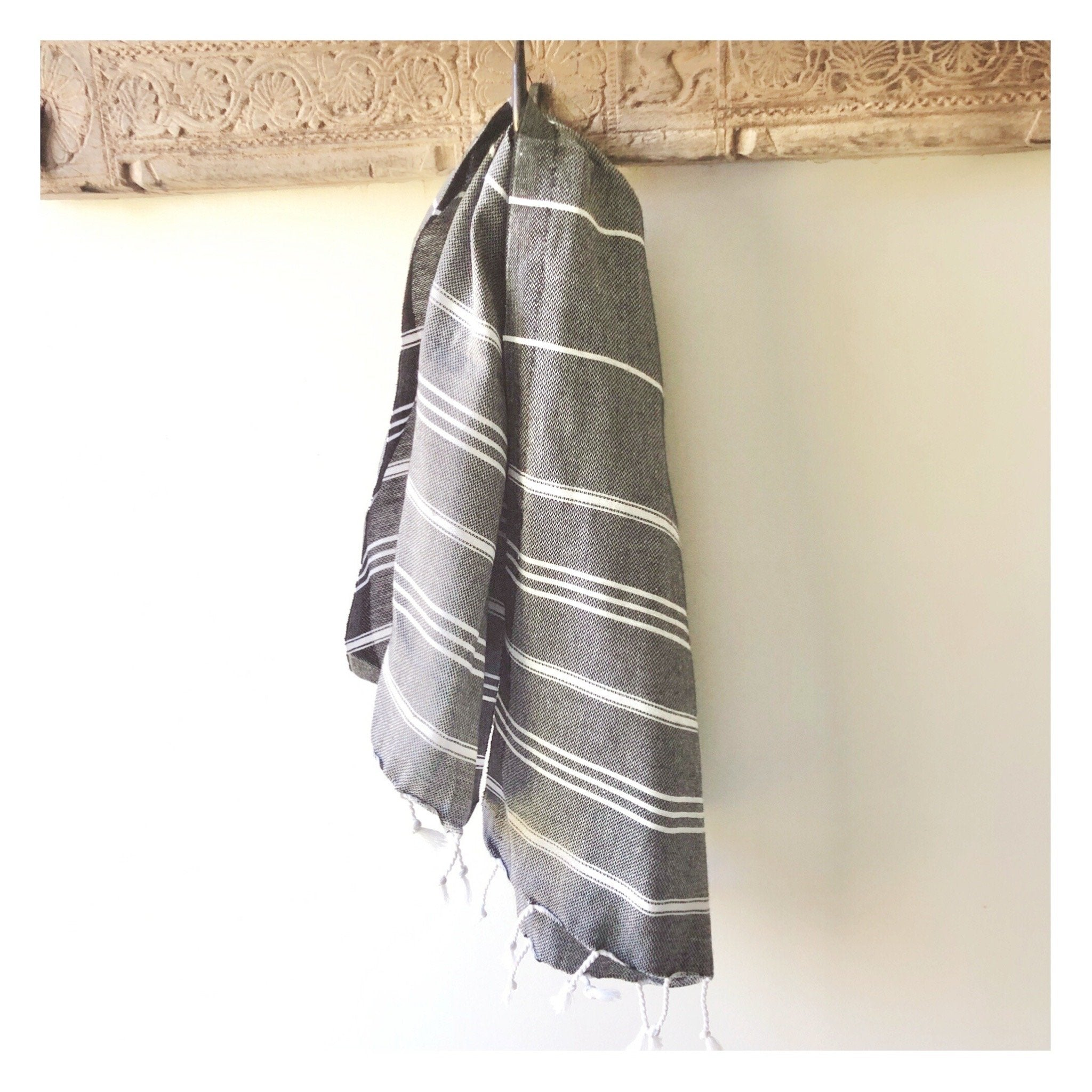 turkish hand towel black and white stripe