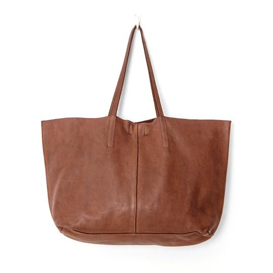 unlined leather tote bag cognac juju and co