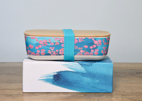 pink coral bamboo lunch box