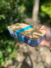 Bamboo Lunch box with pink coral design