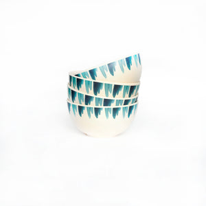 small bamboo bowl set of four with blue wave design