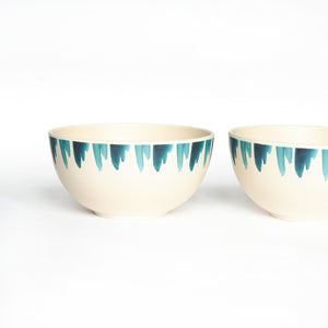 small bamboo bowl with blue wave design