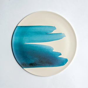 Bamboo Platter with Blue Wave Design