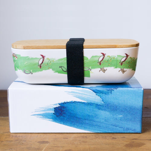 bamboo lunch box with green turtle printed design
