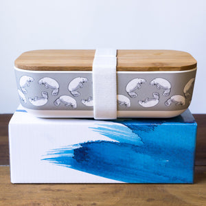 bamboo lunch box with dugong printed design eco friendly gift