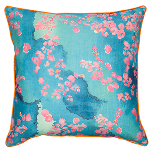 Pink Coral Printed Cushion.
