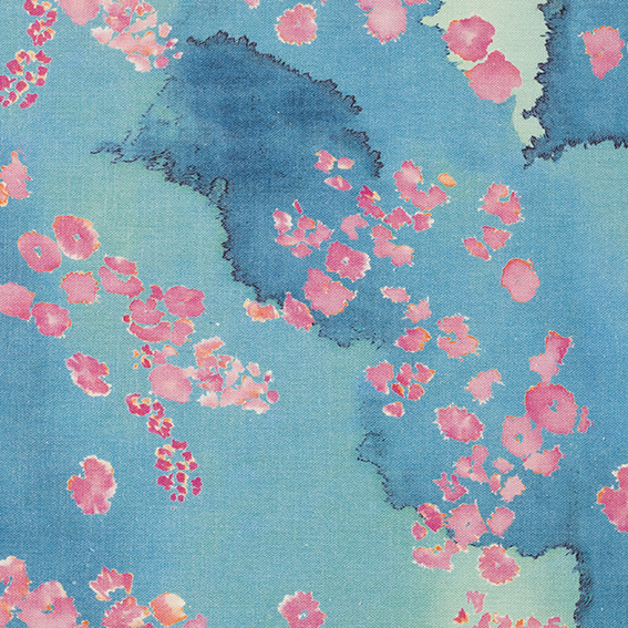Pink and blue  linen cotton mix Coral Reef Fabric