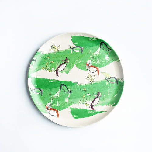 Bamboo plate with green turtle design