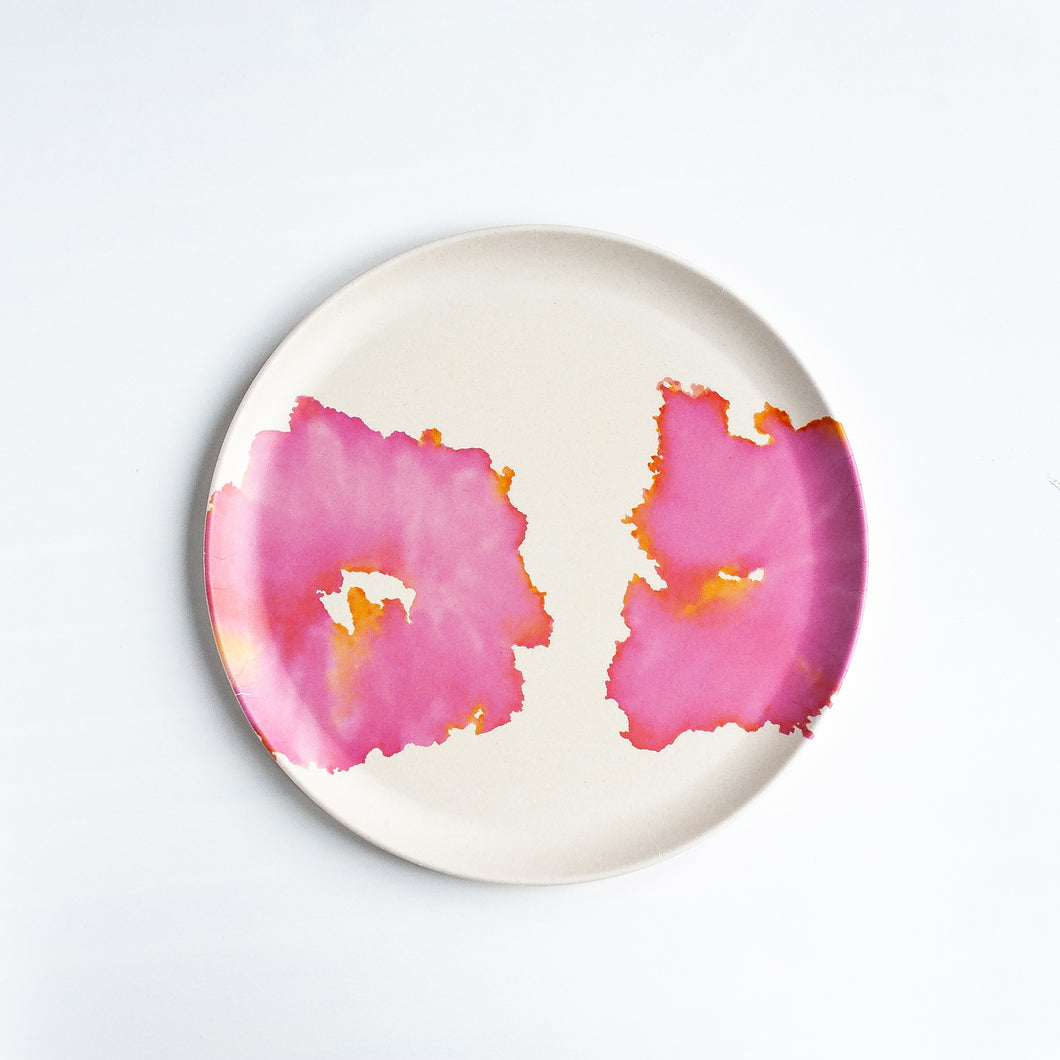 Bamboo Plates with Pink Coral Design