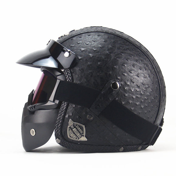Four seasons retro helmet handmade personality retro Harley helmet motorcycle electric car 3/4 leather helmet half helmet