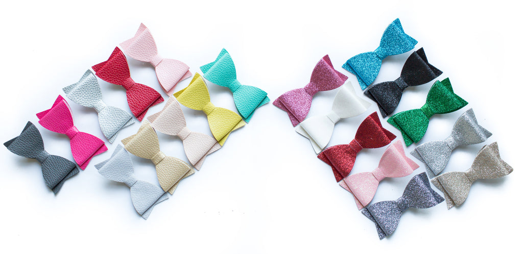 "4"" Leather & Glitter Hair Bows"