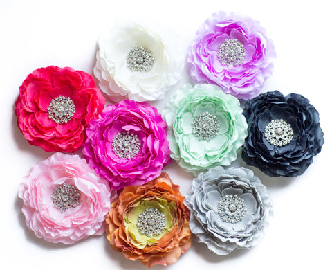 Flower Headbands On Clips or Elastic - Custom