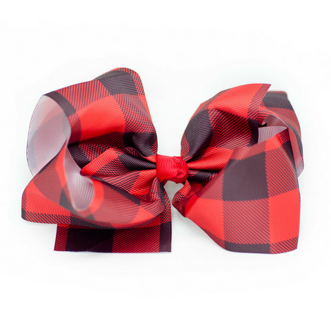 Buffalo Checkered Hair Bow - Plaid Hair Bows Red & Black 6""