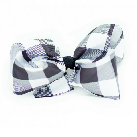 Buffalo Checkered Hair Bow - Plaid Hair Bows White & Black 6""