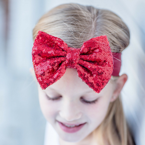 Metallic Headband Sparkle Sequin Bow 0-3T