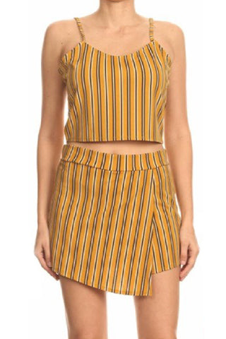 STRIPE CROP TANK TOP &SHORT WRAP SHORT PATS SET(J6805) <Bundle>