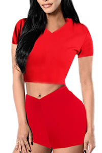 HOODIE CROP TOP AND SHORTS SET(SET6622) <Bundle>