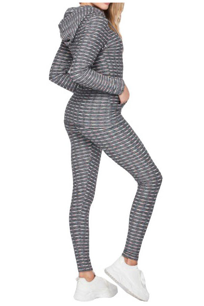 HEATHERED EMBO HOODIE JACKET & BOOTY LEGGINGS SET(T40SET) <Bundle>