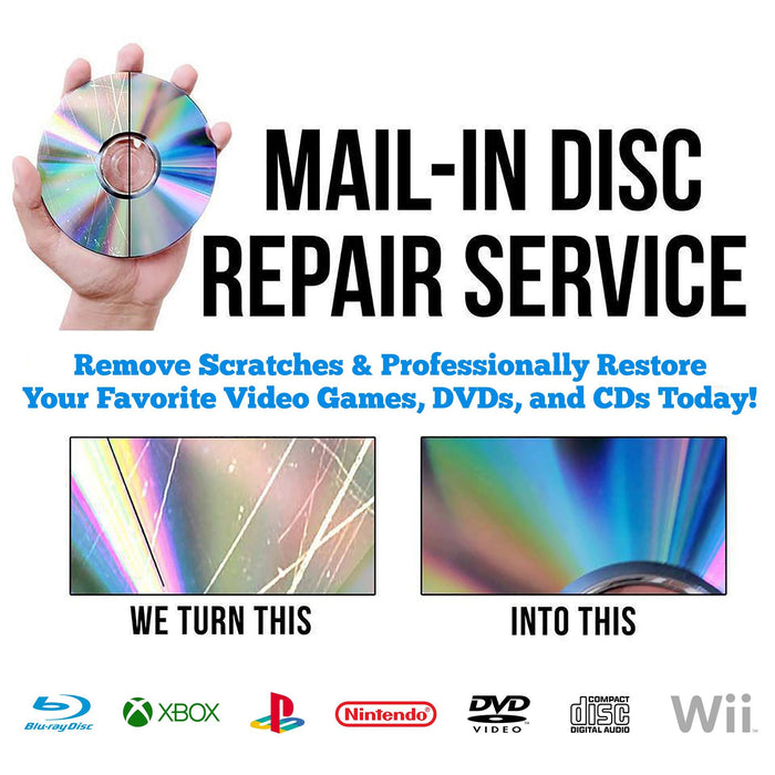 (2) Professional Disc Repairs For Any Video Game, CD, DVD, or Blu-ray