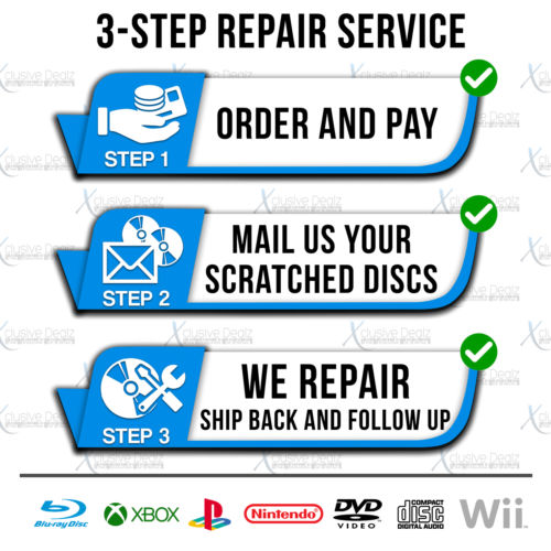 Professional Disc Repair Service for Video Games, CDs, DVDs, and Blu-rays / Choose Your Repair Count Disc Repair Service Xclusive Dealz  - Xclusive Dealz