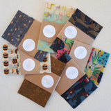 Buzzy Bees (white) Mixed Set of 3 Beeswax Food Wraps