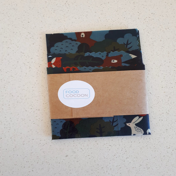 Woodland Friends Mixed Set of 3 Beeswax Food Wraps