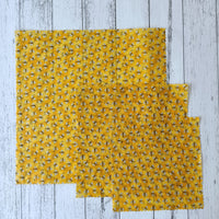Glitter Bees Mixed Set of 3 Beeswax Food Wraps
